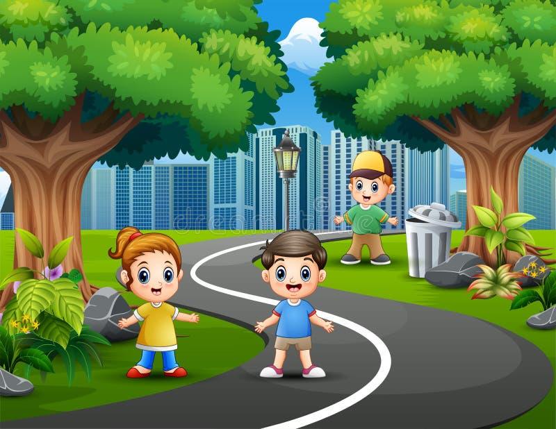 Счастливые дети играя на дорогах парка города иллюстрация вектора