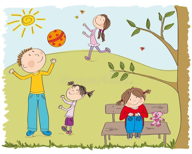 Счастливые дети играя снаружи в парке иллюстрация вектора