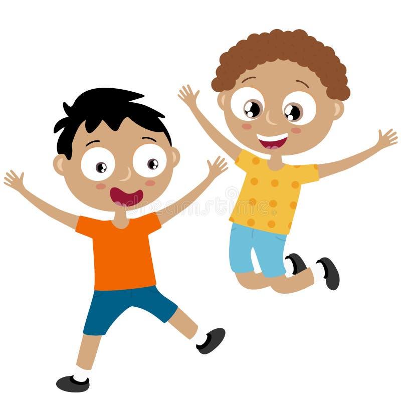 Счастливые дети имея потеху бесплатная иллюстрация