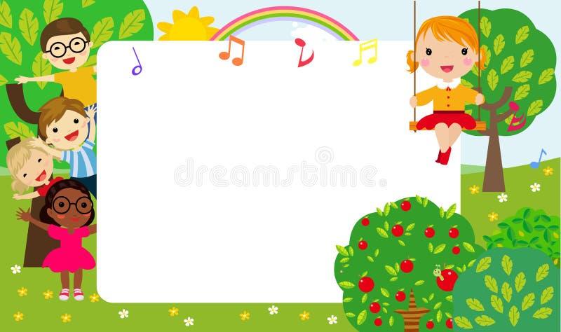 Счастливые дети и рамка бесплатная иллюстрация