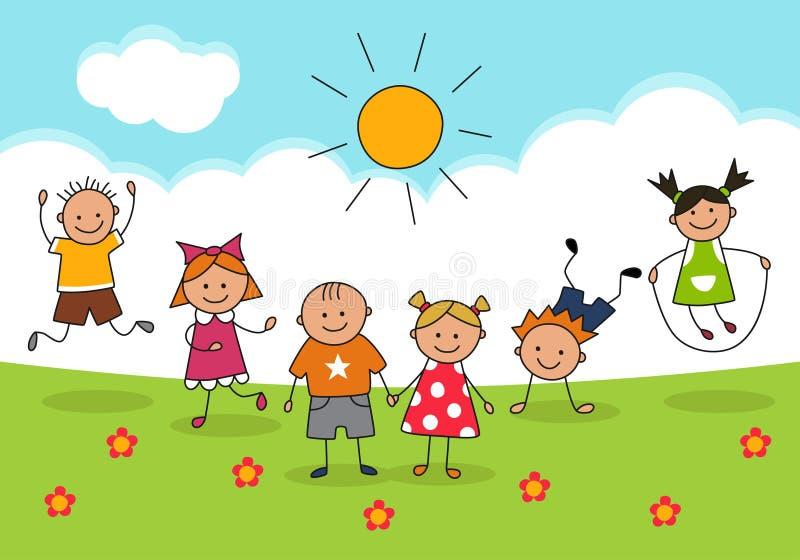 Счастливые дети и солнечный день Иллюстрация в стиле doodle и шаржа бесплатная иллюстрация