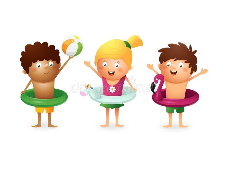 Счастливые дети празднуют лето с плавая помощью - изолированной на белой предпосылке иллюстрация штока