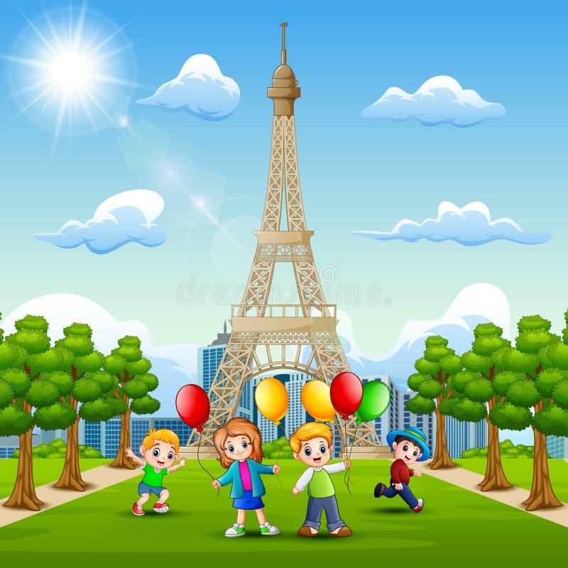 Счастливые дети приносят воздушные шары перед Эйфелевой башней бесплатная иллюстрация
