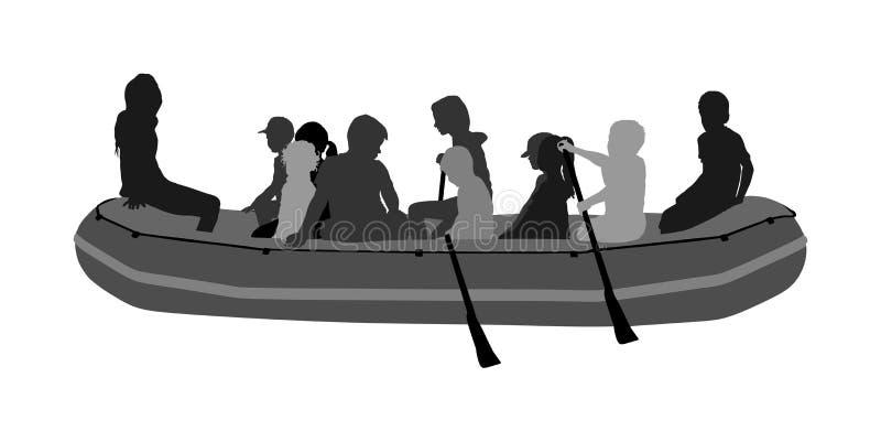 Счастливые дети сплавляя с вектором резиновой шлюпки потеха детей пляжа Девушки и мальчики наслаждаясь грести на реке на раздувно иллюстрация вектора