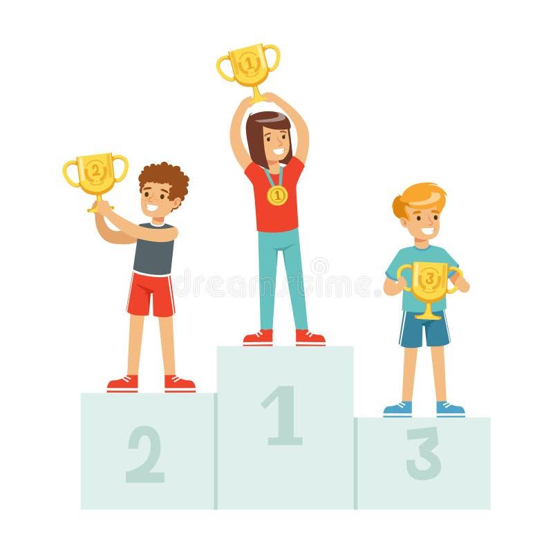 Счастливые дети стоя на подиуме победителя с призовыми чашками и медалями, детьми спортсменов спорта на векторе шаржа постамента иллюстрация вектора