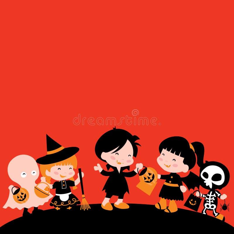 Счастливые дети хеллоуина добиваются обманом или обрабатывают космос экземпляра бесплатная иллюстрация