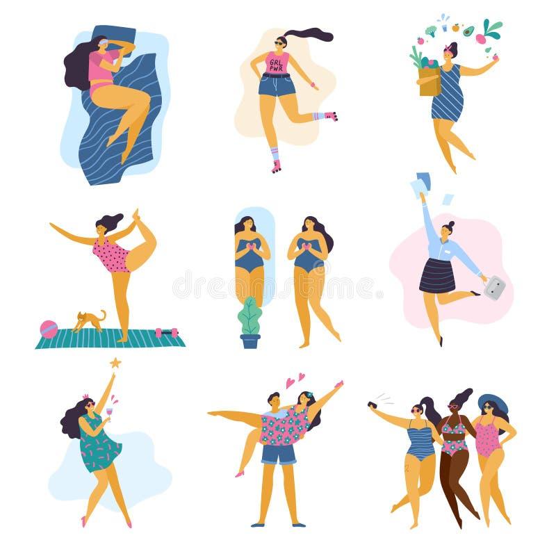 Счастливые добавочные девушки размера со здоровым образом жизни в различном представлении: сон, спорт, здравоохранение, йога, раб иллюстрация штока