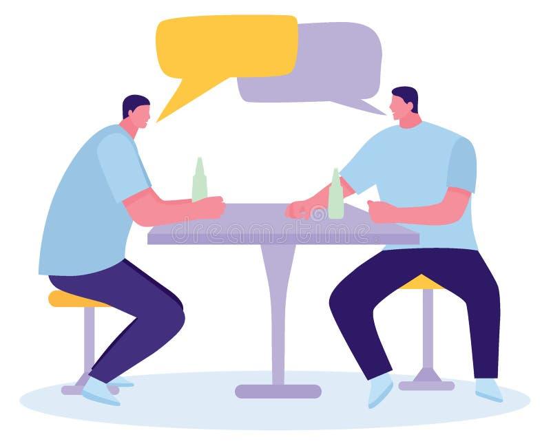 Счастливые друзья выпивая пиво на счетчике в пабе Плоская иллюстрация шаржа бесплатная иллюстрация