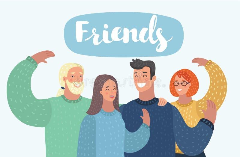 Счастливые друзья группы людей иллюстрация штока