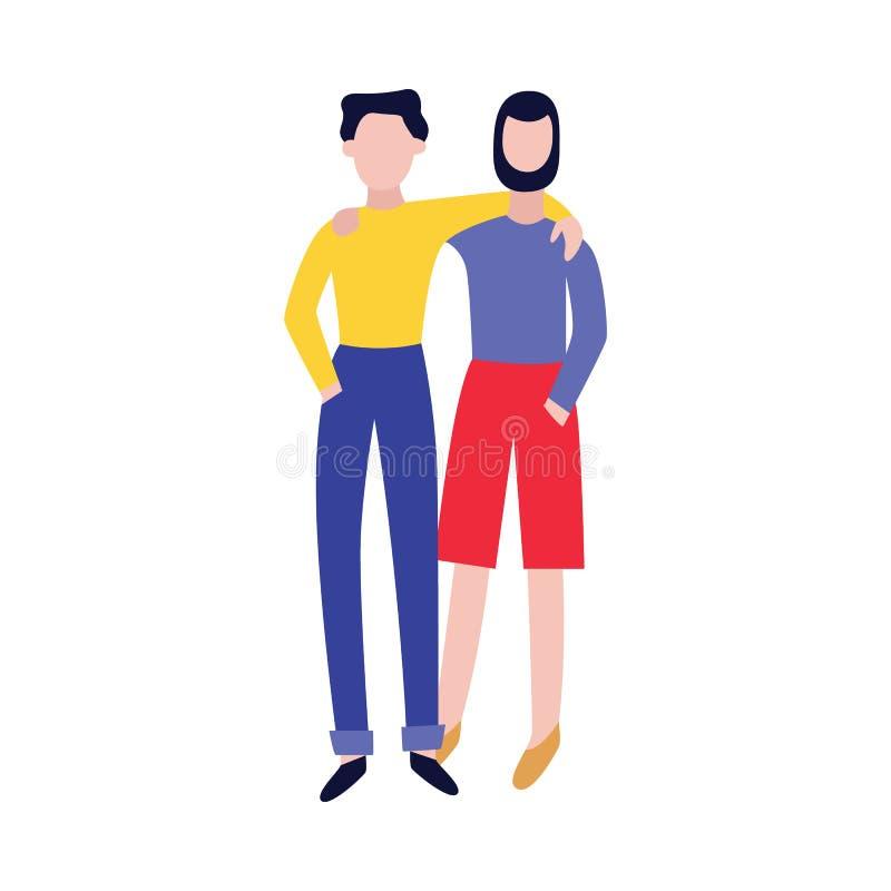 Счастливые друзья обнимая плоскую иллюстрацию вектора изолированную на белой предпосылке иллюстрация штока