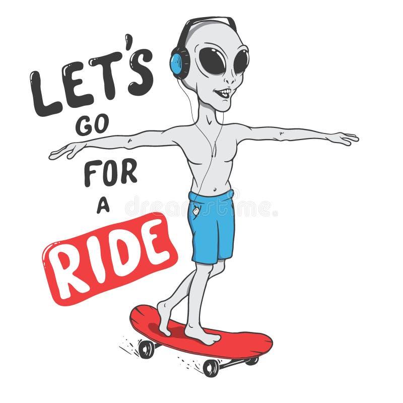 Счастливые езды чужеземца на скейтборде бесплатная иллюстрация