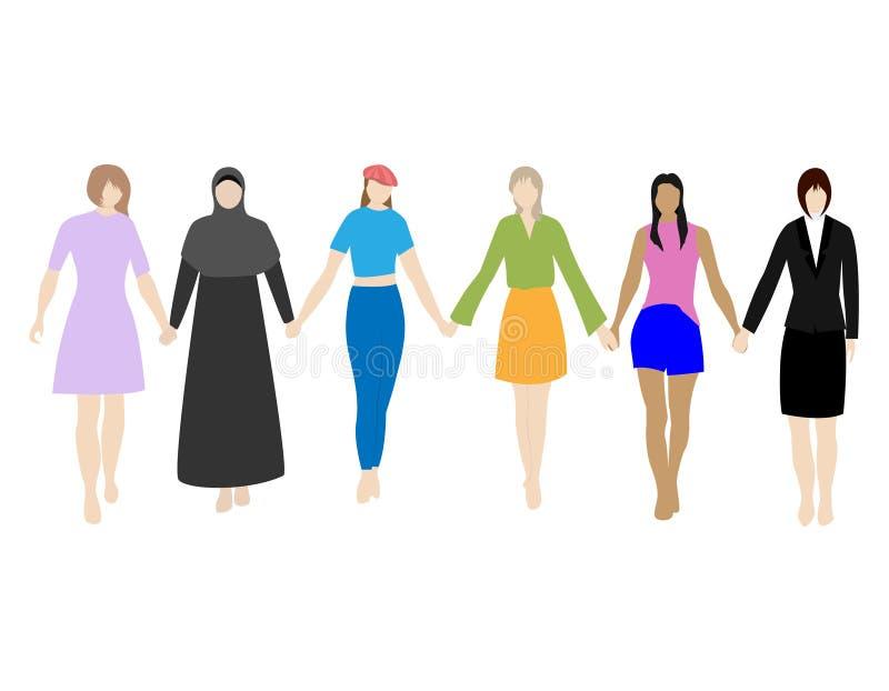 Счастливые женщины или девушки стоя совместно и держа руки Группа в составе женские друзья, соединение феминистов, сестричество п иллюстрация штока