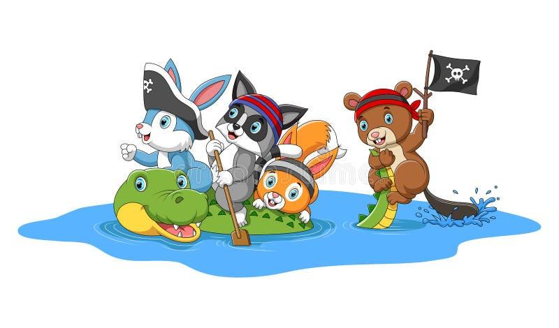 Счастливые животные играя пираты с крокодилом иллюстрация вектора