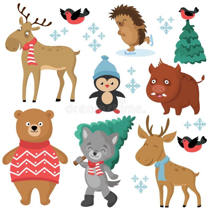 Счастливые животные леса в зиме и рождественские елки изолированные на белой предпосылке бесплатная иллюстрация