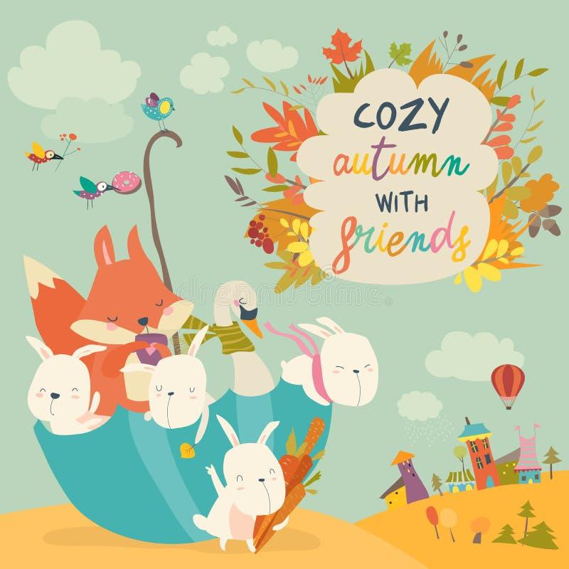 Счастливые животные сидя в зонтике в парке осени бесплатная иллюстрация