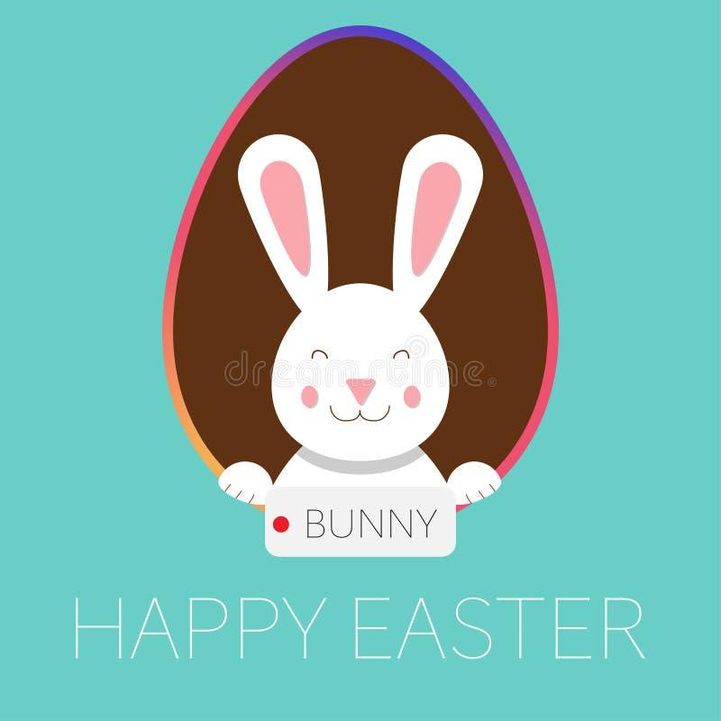 Счастливые зайчик и яйцо поздравительной открытки пасхи иллюстрация штока