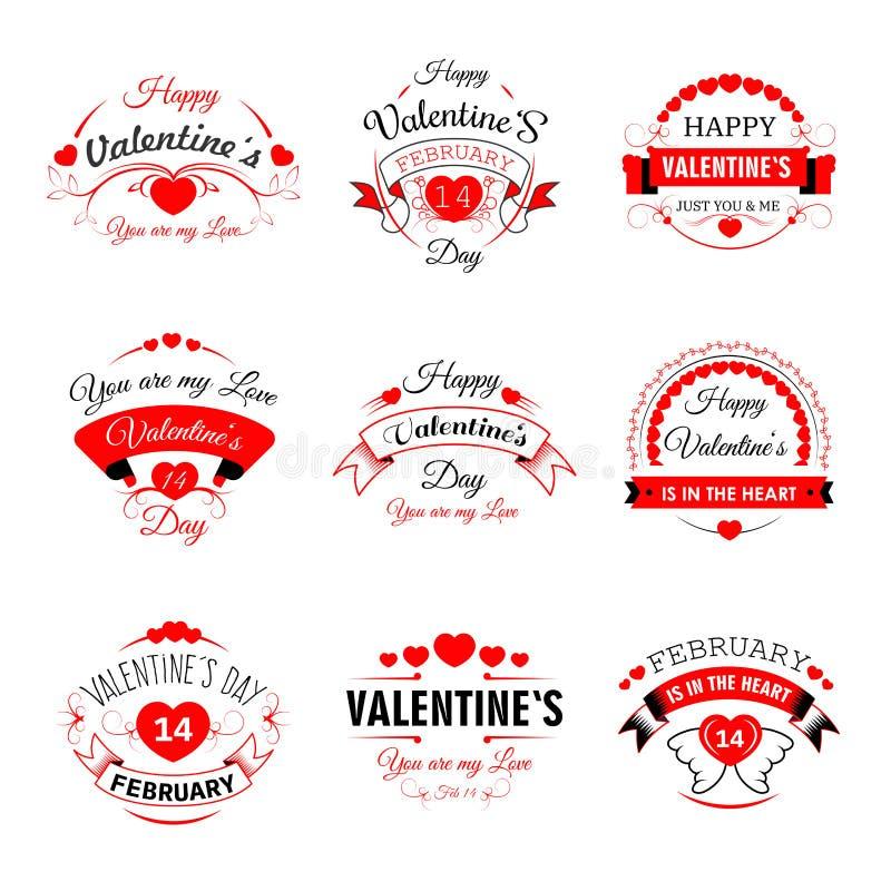 Счастливые значки валентинок сердца вектора дня валентинки для поздравительной открытки конструируют шаблон бесплатная иллюстрация