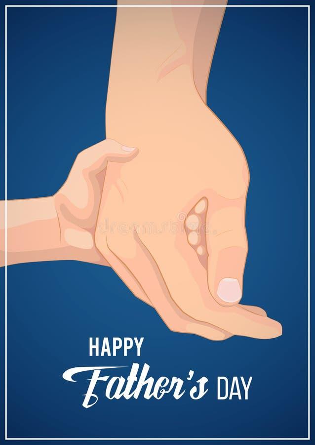 Счастливые карта, знамя или плакат дня отца s Отец держа его руку ребенка иллюстрация штока