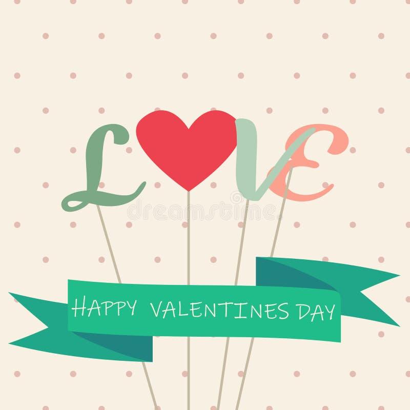 Счастливые карты дня Святого Валентина и полоть - вектор - вектор иллюстрация штока