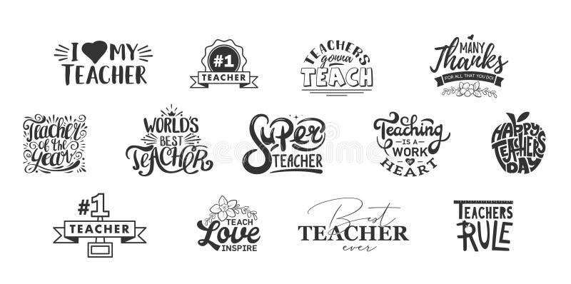 Счастливые литерность дня учителей и цитата оформления Значки учителя мира самые лучшие для подарка, карт праздника дизайна и печ стоковое фото