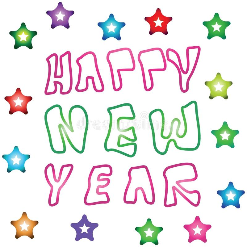 Счастливые логотипы Нового Года бесплатная иллюстрация