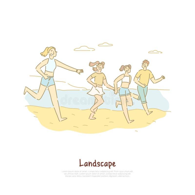Счастливые люди бежать на береге моря, друзья путешествуют для того чтобы зашкурить пляж, туризм ландшафта, знамя семейного отдых иллюстрация штока