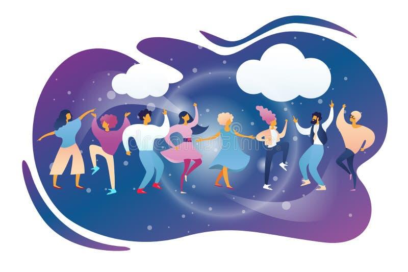 Счастливые люди бить и танцуя на ночном клубе иллюстрация вектора