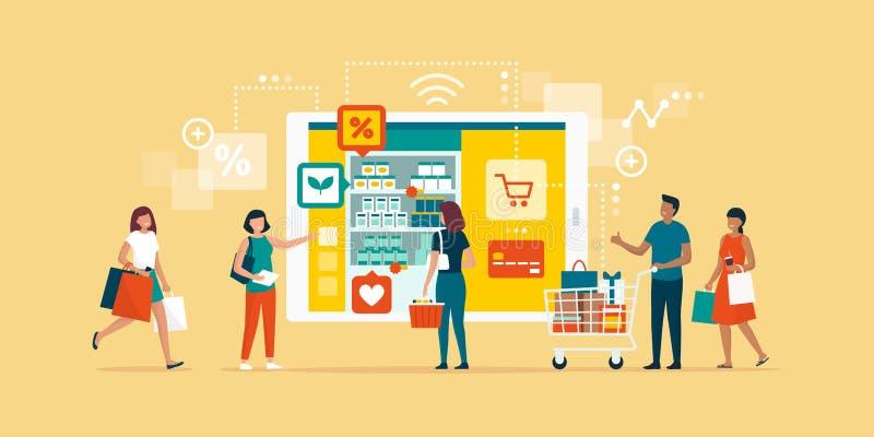 Счастливые люди делая посещение магазина бакалеи онлайн иллюстрация вектора