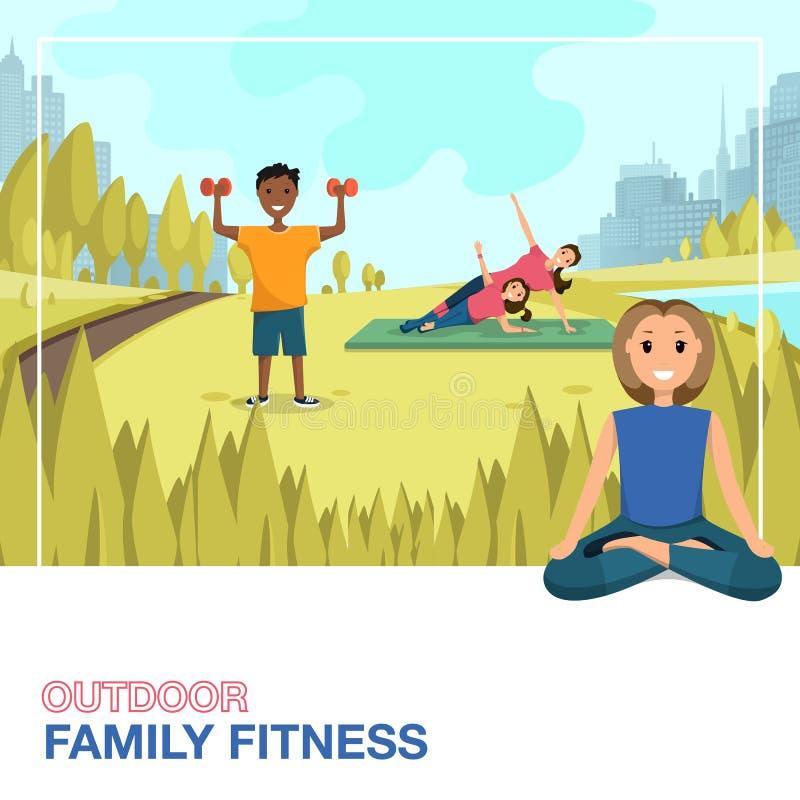 Счастливые люди делая Outdoors фитнеса в городе бесплатная иллюстрация