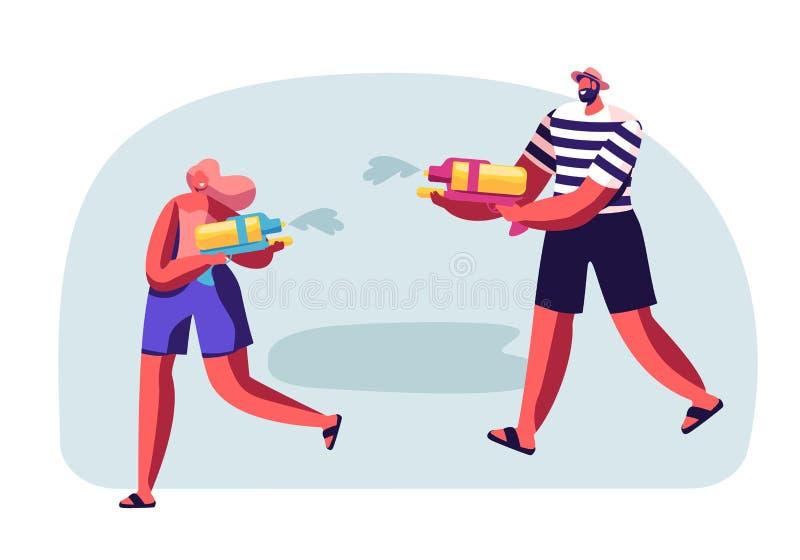 Счастливые люди играя и снимая с водяными пистолетами в горячей погоде сезона лета Мужчина и женские характеры брызгая улицу иллюстрация штока