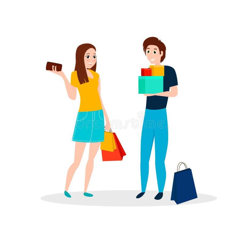 Счастливые люди идут ходить по магазинам бесплатная иллюстрация