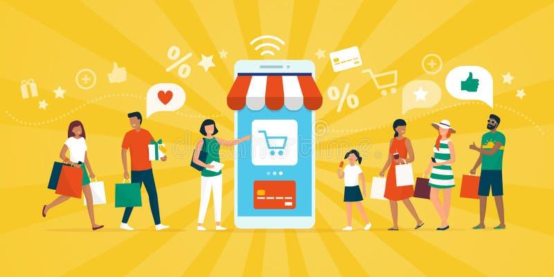 Счастливые люди ходя по магазинам совместно на ходя по магазинам приложении бесплатная иллюстрация
