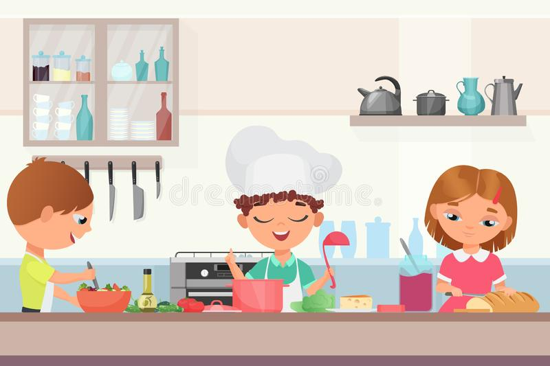 Счастливые маленькие милые дети детей варя очень вкусную еду в кухне Мальчик шеф-повара в крышке поваров держит варить ковша бесплатная иллюстрация