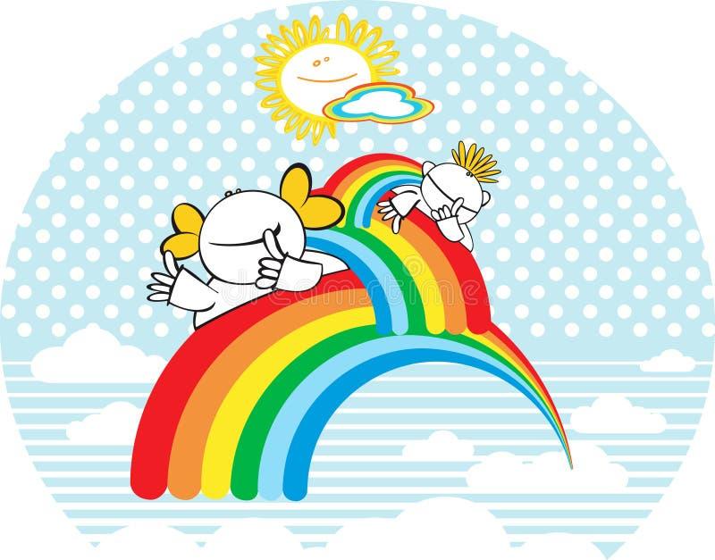 Счастливые малыши с радугой. иллюстрация штока