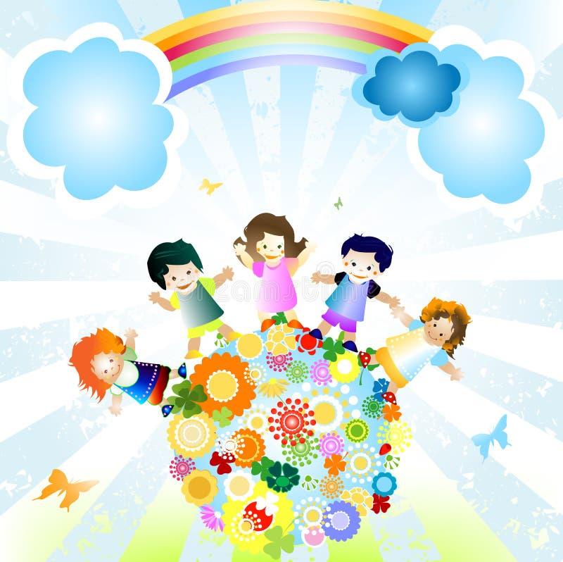 счастливые малыши иллюстрация вектора