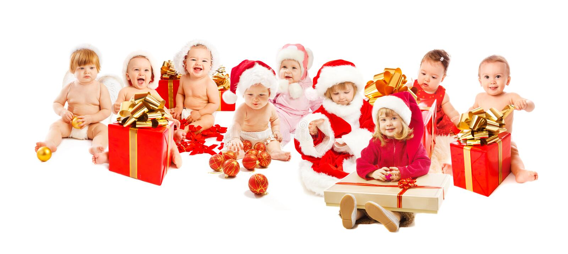 счастливые малыши santa стоковые изображения rf