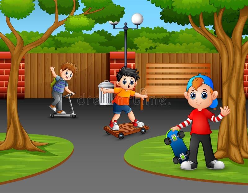 Счастливые мальчики играя в Park City иллюстрация вектора