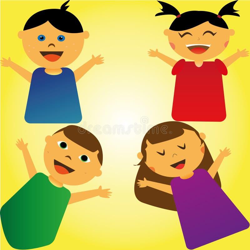 счастливые мальчики и девушки иллюстрация вектора