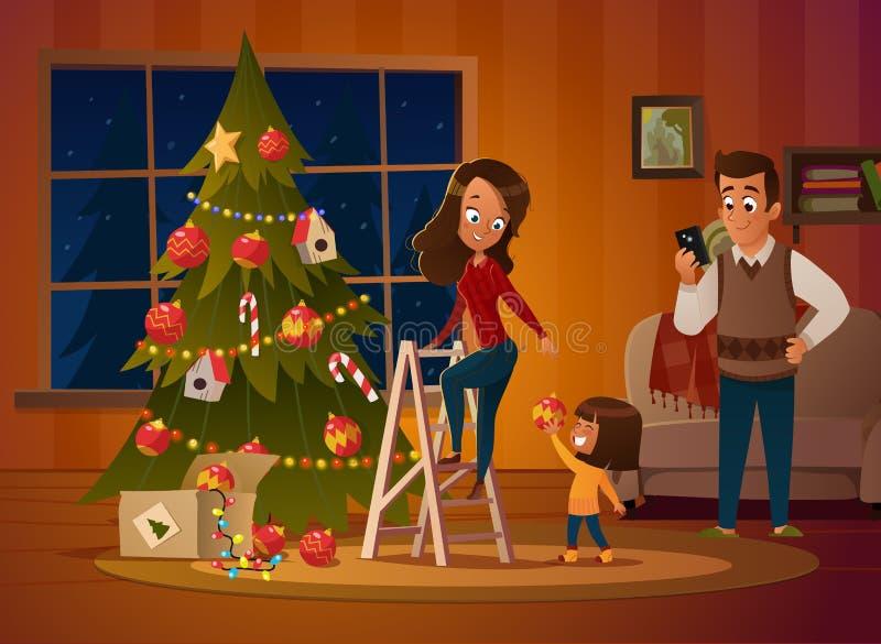 Счастливые мама, папа и doughter семьи одевают рождественскую елку Мальчик разматывает гирлянду Семья в свитерах рождества бесплатная иллюстрация