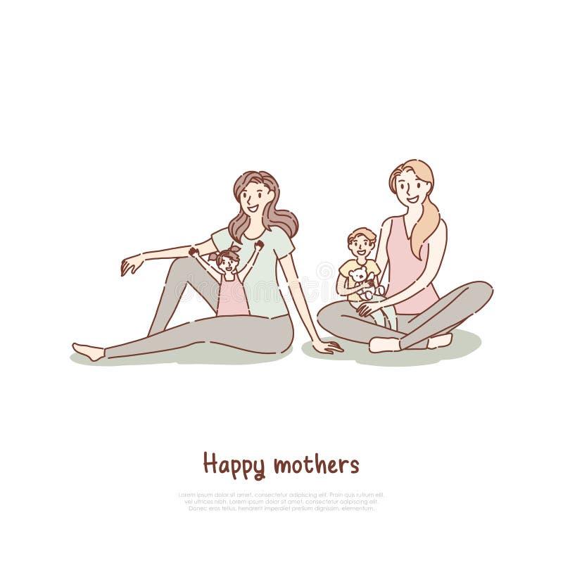 Счастливые матери с детьми на занятиях йогой, сыне сидя в подоле мамы, времени траты мамы с шаблоном знамени ребенк иллюстрация штока