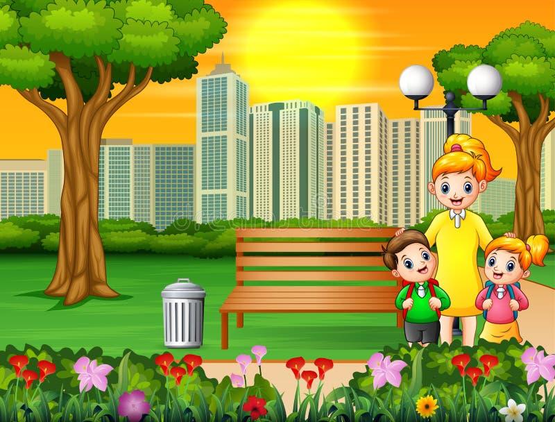 Счастливые мать и дети в парке города бесплатная иллюстрация