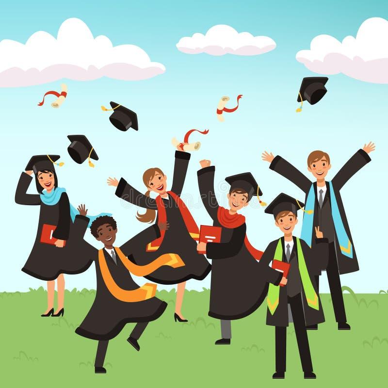 Счастливые международные студент-выпускники с иллюстрацией вектора дипломов и шляп градации иллюстрация вектора