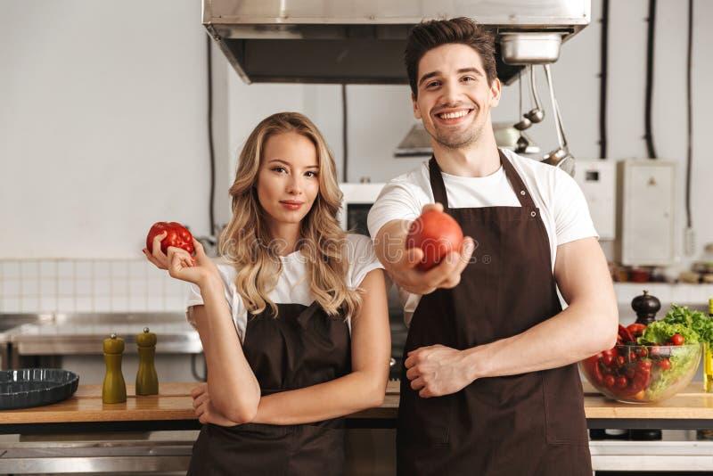 Счастливые молодые друзья любя шеф-поваров пар на варить кухни стоковое изображение