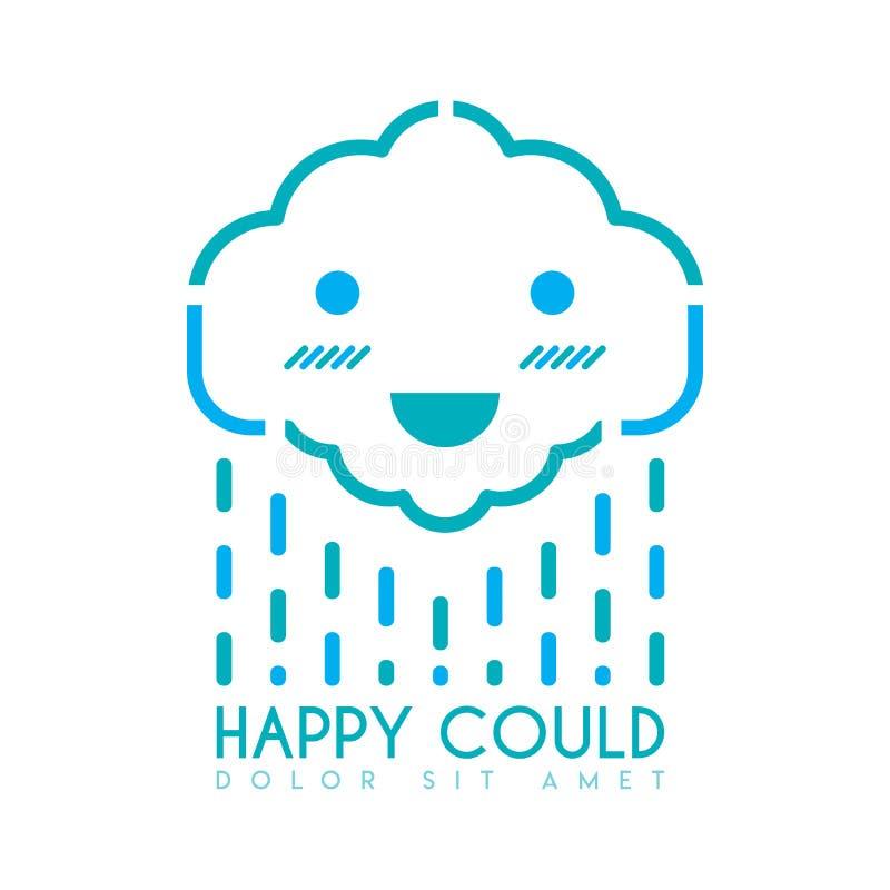 Счастливые облака логотип улыбки дождя зеленый иллюстрация вектора