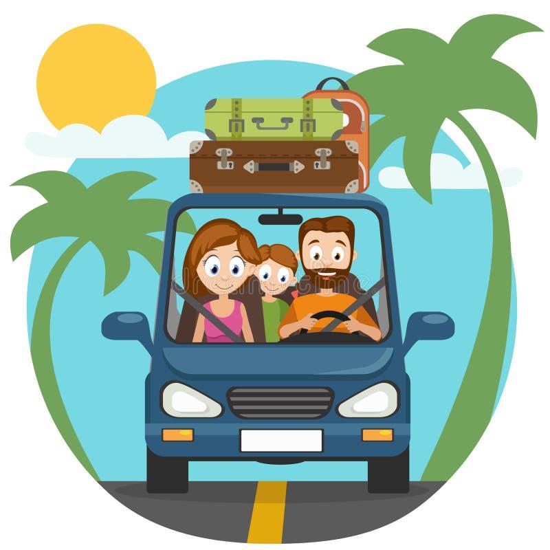 Счастливые папа, мама и дочь семьи идут автомобилем путешествовать бесплатная иллюстрация