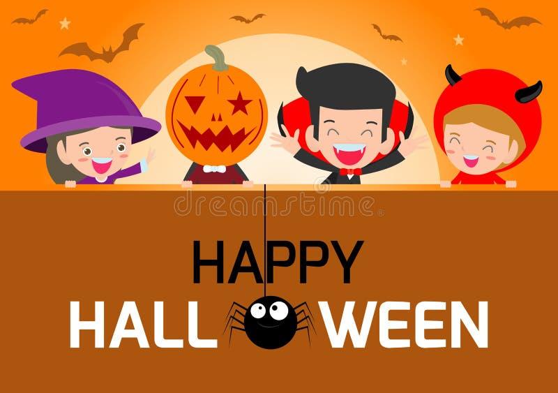 Счастливые партия и тема плаката хеллоуина конструируют предпосылку, группу в составе ребенок в костюме хеллоуина скача, счастлив иллюстрация штока