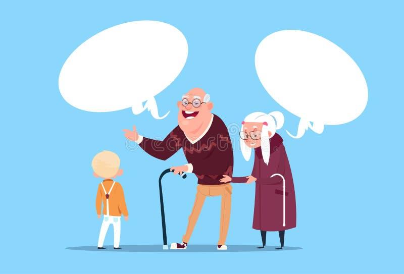 Счастливые пары дедов при внук связывая современные дед и бабушка и малый мальчик иллюстрация штока