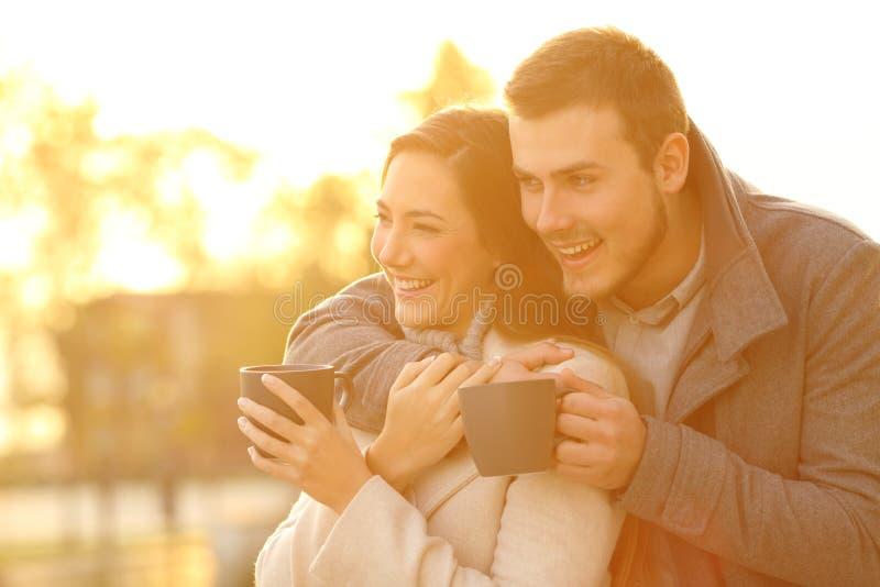 Счастливые пары смотря прочь в зиме на заходе солнца стоковое фото rf