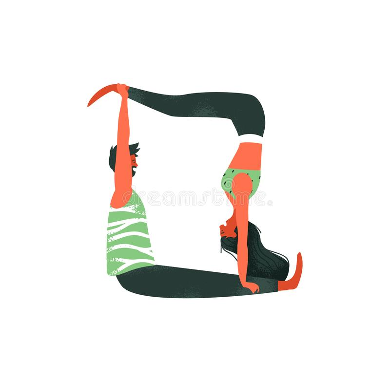 Счастливые пары человека и женщины делая тренировку йоги acro иллюстрация вектора