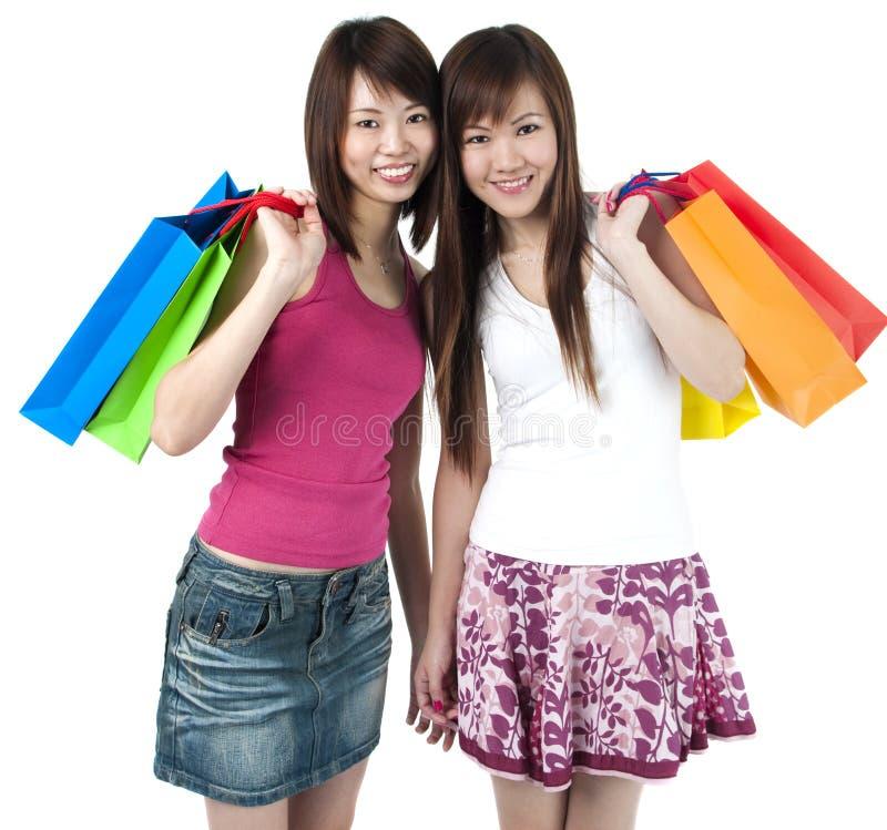 счастливые покупатели стоковое фото rf